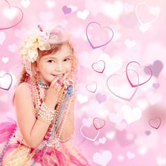 Prinzessin mit Hintergrund Herzen Pink