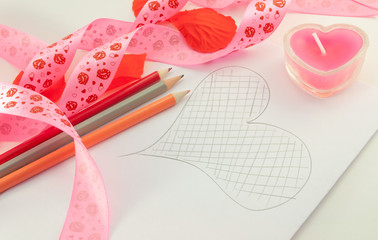 Paint the heart of the romantic symbols