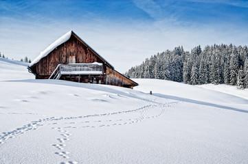 Almhütte im Winter