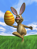 happy easter bunny with easter egg