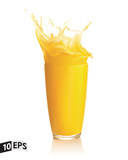 Fototapety Orange juice splash on a white background. Vector. Mesh