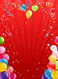 Fototapety Celebration red background with balloons