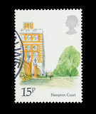 UK mail stamp featuring Hampton Court Palace, circa 1980