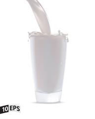 Glass with milk splash. Vector illustration. Mesh