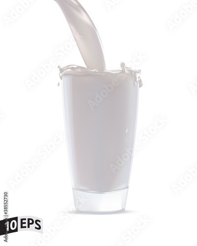 Glass with milk splash. Vector illustration. Mesh