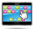 Digital tablet with apps and hand cursor.