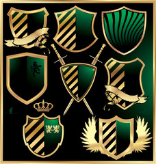 Gold and green shields set