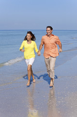 Man & Woman Couple Running on An Empty Beach