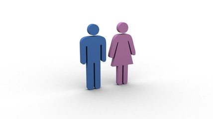 Pictogram blue man and pink woman (colour-coded)
