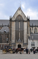 cathedral in amsterdam Dam square