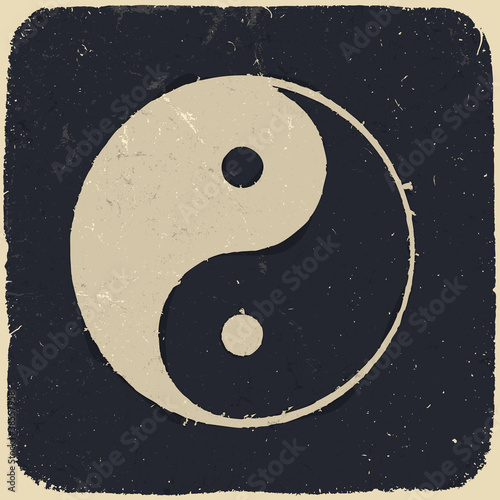 Grunge yin yang symbol background. Vector illustration, EPS10.