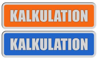 2 Sticker orange blau KALKULATION