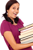 Female student making efforts to hold pile of books poster
