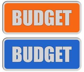 2 Sticker orange blau BUDGET
