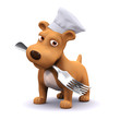 3d Dog in chefs hat with a fork