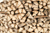 Woodpile of fire wood poster