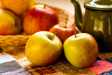 Apples with teapot