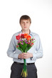young man with a bouquet