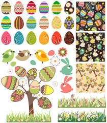 Big easter set with traditional eggs,birds and rabbits