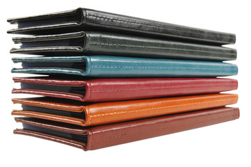 Stack of leather business cards holders