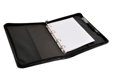 Black leather notebook cover with copy space