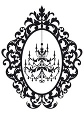 picture frame with antique chandelier, vector