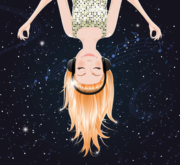 Vector girl upside down listening to music of space.