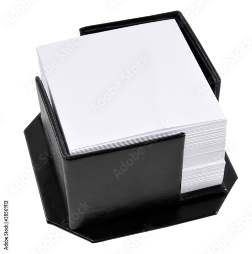 Memo cards in a black leather holder