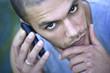 Sérieux, inquiet, téléphone, technologie, communication