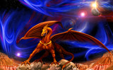 Fototapety dragon in space