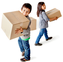 Kids with cardboard boxes