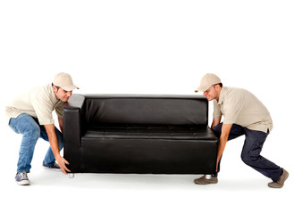 Delivery men carrying a sofa
