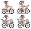 Mother who rides a bicycle-set