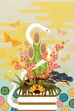 Fototapety 白ヘビと門松