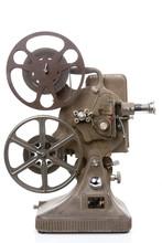 vieux film projecteur isolé sur blanc