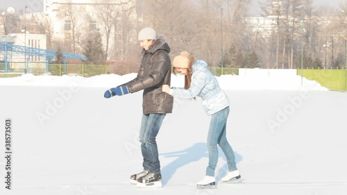 Funny skating couple