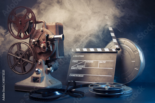 canvas print picture old film projector and movie objects