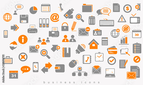Set of colored icons business.