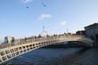 The ha penny Bridge over River Liffey Dublin City Ireland