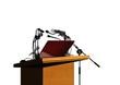 Seminar podium and microphones