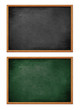 blank black and green board set with wooden frame