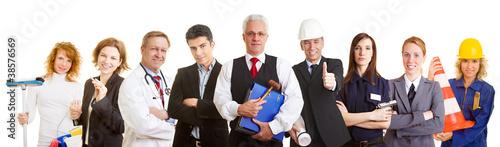 Verschiedene Berufe als Team
