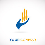 Logo hand and flame # Vector