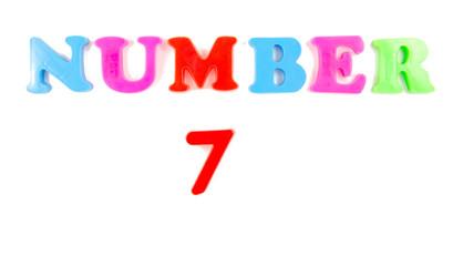 number 7 written in fridge magnets