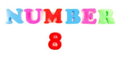 number 8 written in fridge magnets