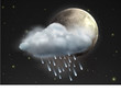 moon with raincloud and raindrops in the night sky