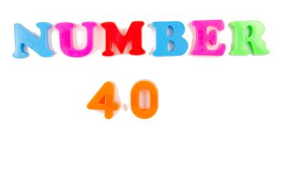 number 40 written in fridge magnets