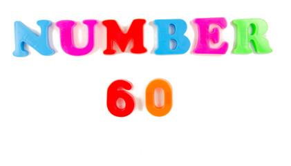 number 60 written in fridge magnets