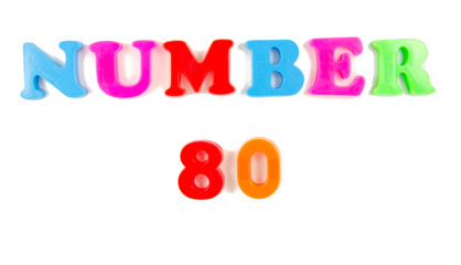 number 80 written in fridge magnets