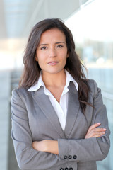 Portrait of beautiful businesswoman standing outside